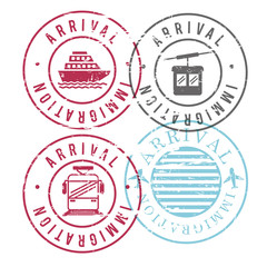 immigration arrival circular stamps of ship and cableway and train and airplane in colorful silhouette