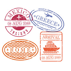 ship and airplane travel stamps in oval and circular and rectangular shape of mexico greece and rome in colorful silhouette