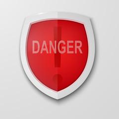 Security label. Vector badge. Defense tag. Danger sign