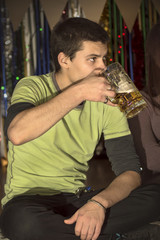 Drinking beer at party