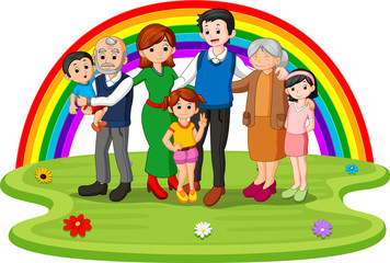 Family in the park on rainbow day