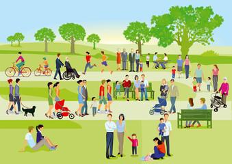 Familien und Personen erholen sich im Park