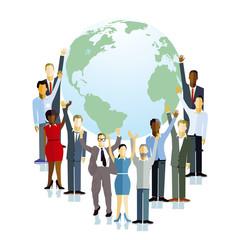Personen halten den Globus