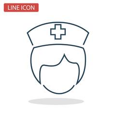 Nurse head line icon for web and mobile design
