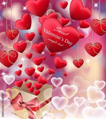 love red letters card vector realistic happy valentines day greeting