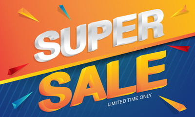 Sale concept vector banner with abstract triangle elements