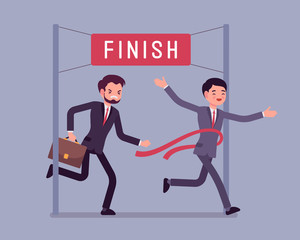 Businessmen at finish line