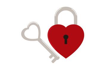Vector illustration of heart shape padlock  with key shape heart  - Love concept