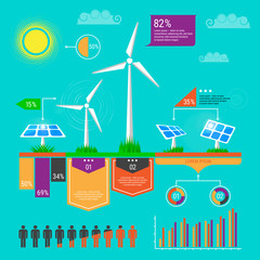 Environment, ecology infographic elements. Wind turbine and solar panels icons