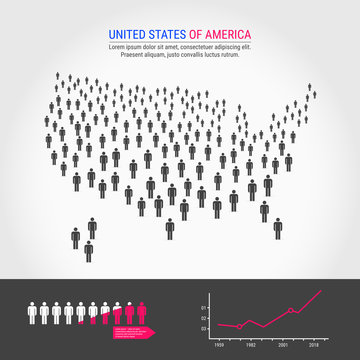 USA People Map. Population Growth Infographic Elements.