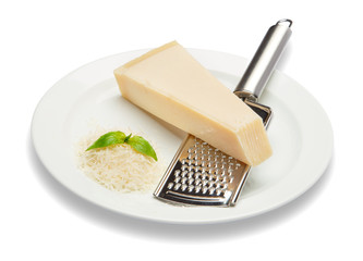 a piece of Parmesan and grated cheese on white background. Clipping path
