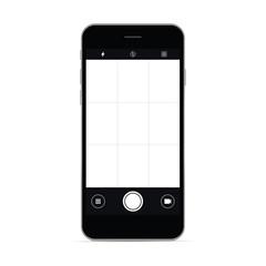 Smartphone with camera app screen. Vector illustration