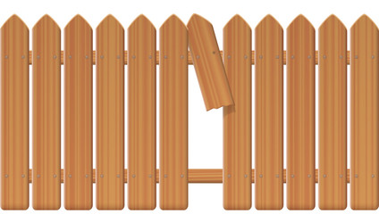 Gap in the fence - wooden textured picket fence with broken plank and loophole to slip through, escape, flee, take off, break free, slip away, sidle off - vector illustration on white background.