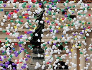 Balloons are released into the sky as part of the year-end celebrations in downtown Sao Paulo