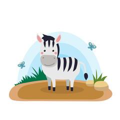 Wild animals with landscape - cute cartoon vector illustration of zebra