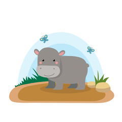 Wild animals with landscape - cute cartoon vector illustration of hippo
