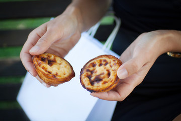 Pasteis de nata - famous traditional dessert and cake of Portugal