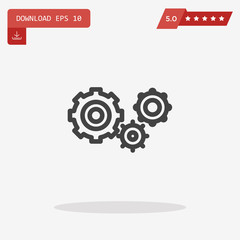 Gear Icon in trendy flat style isolated on grey background. Engi