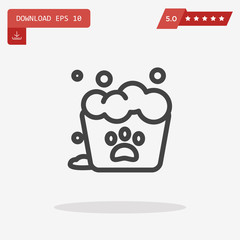 Cat paw Icon in trendy flat style isolated on grey background. L