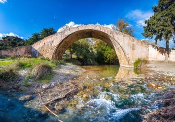 Preveli Bridge Panorama, Crete island Greece.