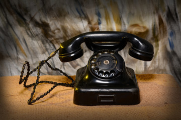 Vintage Retro Landline Phone closeup - Communication Concept