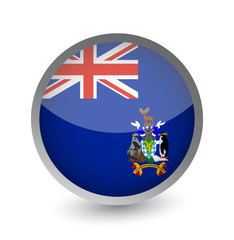 South Georgia and the South Sandwich Islands Flag Round Glossy Icon