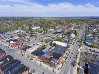 Aerial view of downtown Potsdam, Upstate New York, USA.