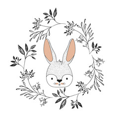 bunny face in decorative frame of branches in color silhouette
