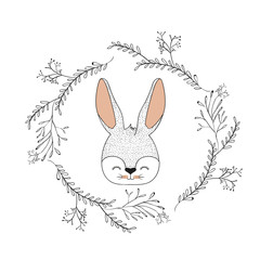 bunny face happy expression in decorative frame of branches color silhouette
