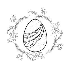 easter egg with decorative lines and branches around in monochrome silhouette