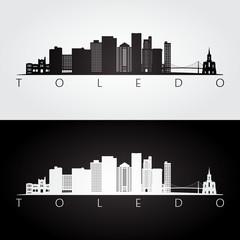 Toledo usa skyline and landmarks silhouette, black and white design, vector illustration.