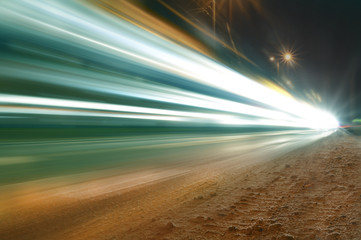 Car lights, blurred lights on the road, long exposure time