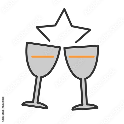 two glasses of champagne for merry christmas and happy new year color vector illustration
