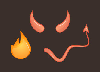 Devil vector illustration symbols, horns, tail and fire on dark red background.