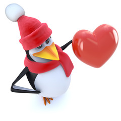 3d Funny cartoon penguin dressed for winter and holding a red heart