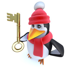 3d Funny cartoon penguin dressed for winter and holding a gold key