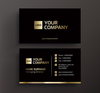 Business card black and gold vector