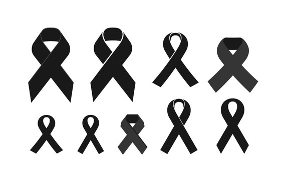 Black mourning ribbon. Death, eternal memory, funeral icon or symbol. Vector illustration