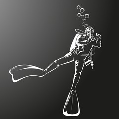 Silhouette of a diver. Vector illustration