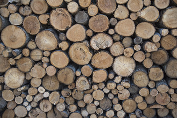 A pile of wooden logs