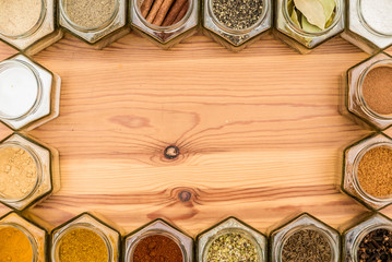 Frame of spices and herbs with room for copy text inside.