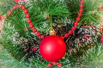 A Christmas tree (or a New Year tree) with beautiful festive decoration ornament. Xmas tree stock image, New Year concept