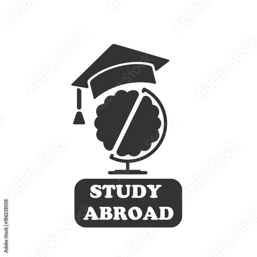 Globe with brain in graduate cap   Vector business