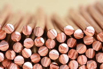 Copper wire raw materials and metals industry and stock market concept