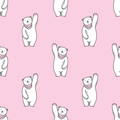 Bear polar bear Seamless Pattern vector scarf stand up wallpaper isolated background Pink