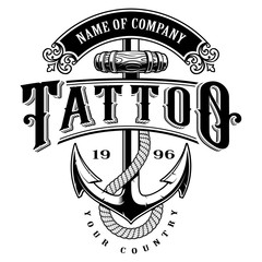 Tattoo lettering illustration with anchor (for white background)