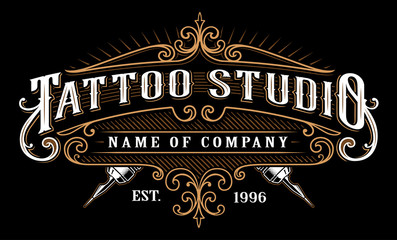 Vintage tattoo studio emblem_2 (for dark background)