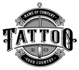 Vintage tattoo studio emblem_4 (for white background)