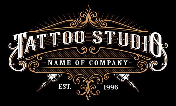 Vintage tattoo studio emblem_2 (for dark background)