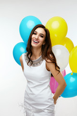 Birthday Girl. Beautiful Woman With Colorful Balloons.